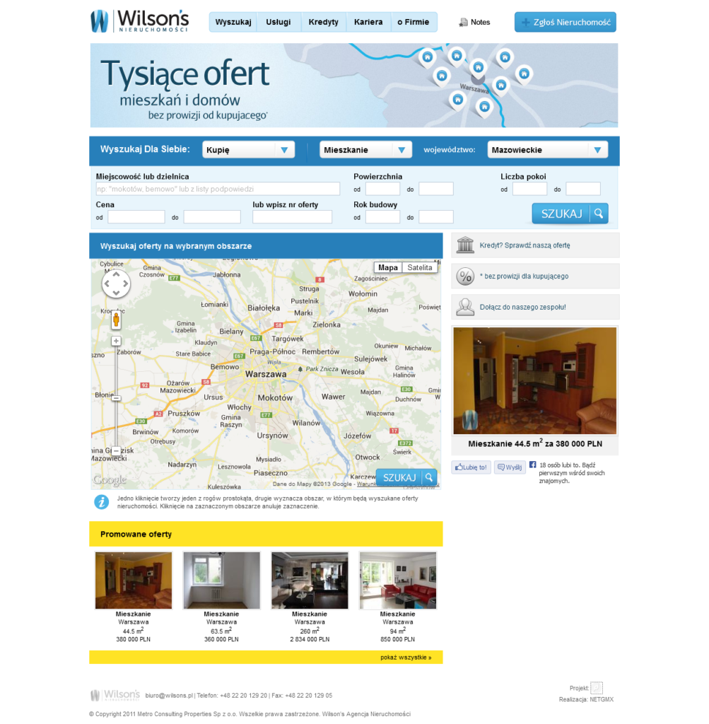 strona internetowa dla biura nieruchomości